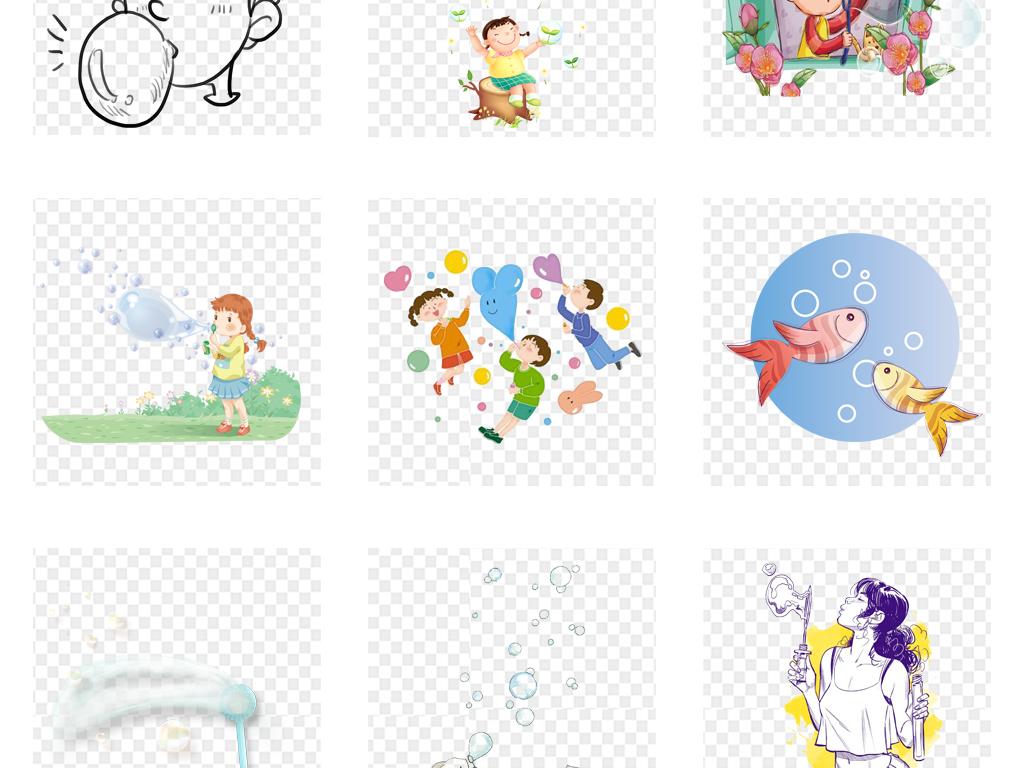 创意手绘正在吹泡泡外出郊游踏青旅游玩耍上学孩子幼儿幼儿园素材女孩