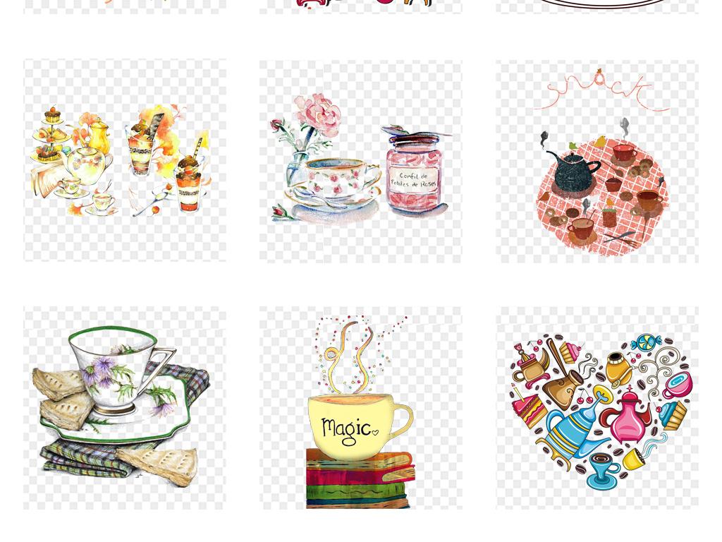 手绘创意咖啡下午茶海报背景设计png素材