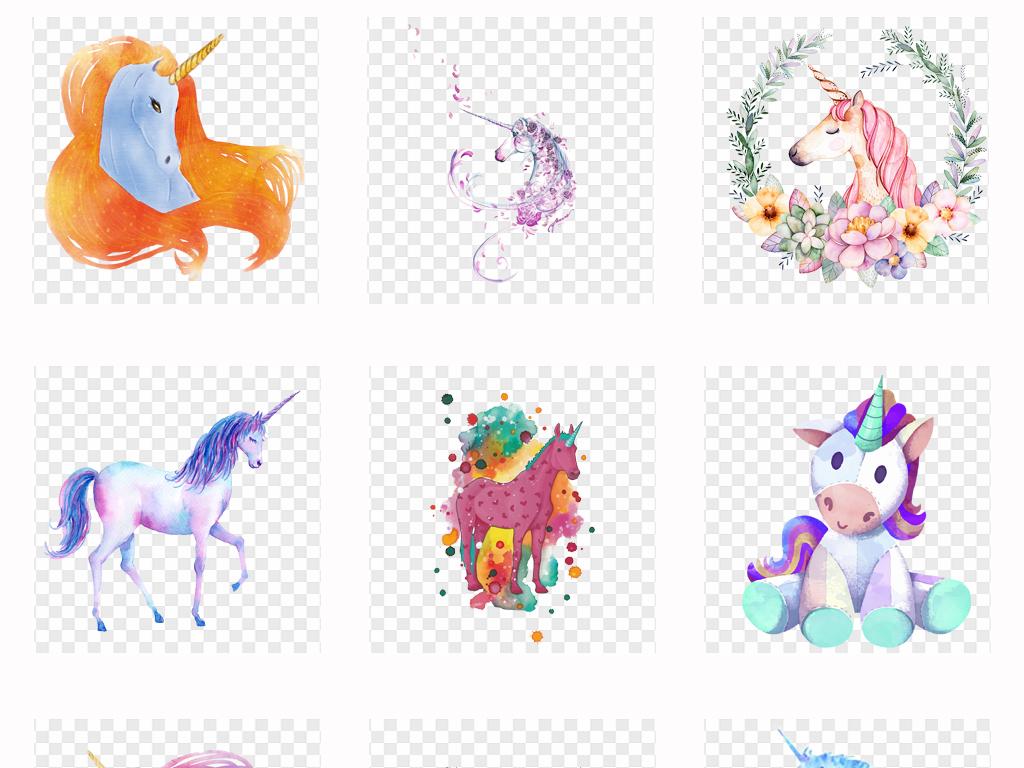 50多款唯美手绘水彩独角兽装饰画背景墙png素材