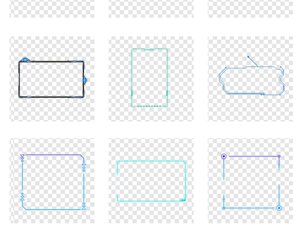 蓝色高科技科技感边框背景png透明素材图片