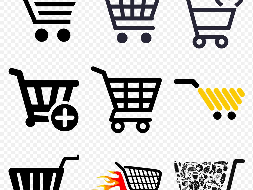 购物车人物图标海报素材背景png免抠透明设计