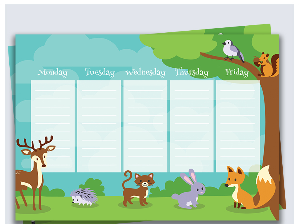 手绘卡通动物学生课程表