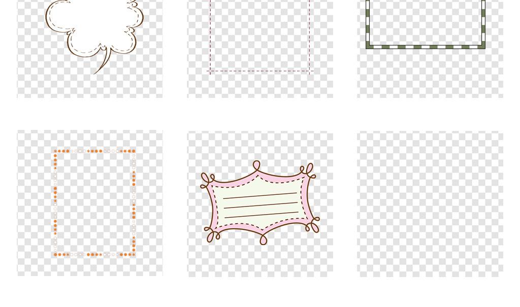 免抠元素 花纹边框 卡通手绘边框 > 虚线框卡通边框标题框png免扣素材