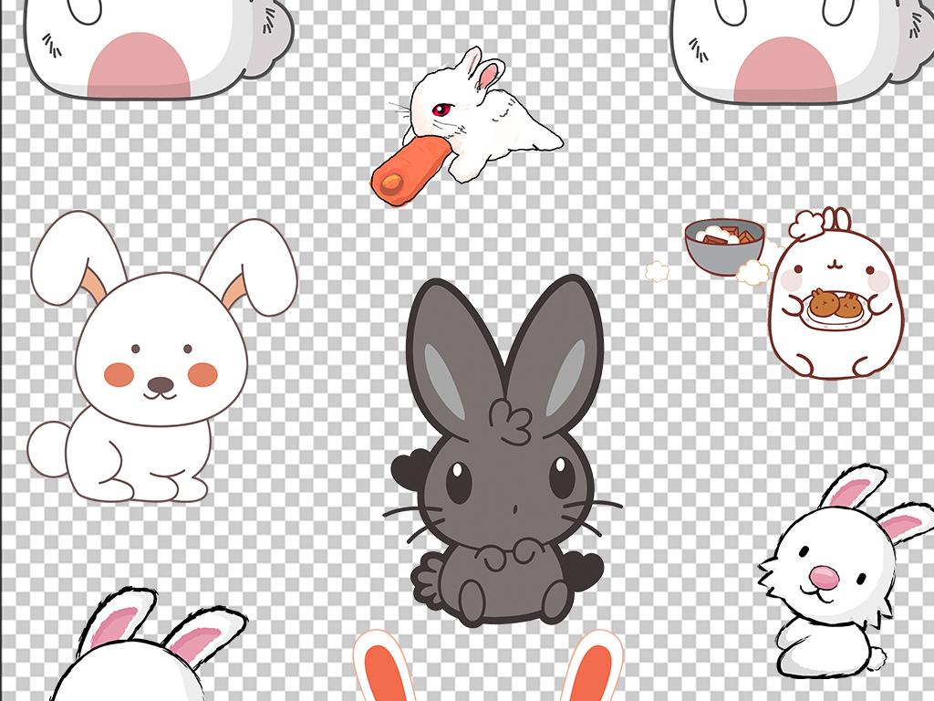 可爱卡通手绘兔子动物中秋节背景png