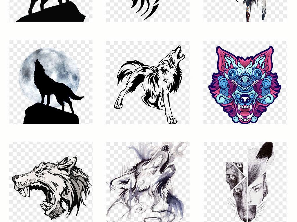 卡通手绘狼头狼图案狼图腾动物海报png免抠素材