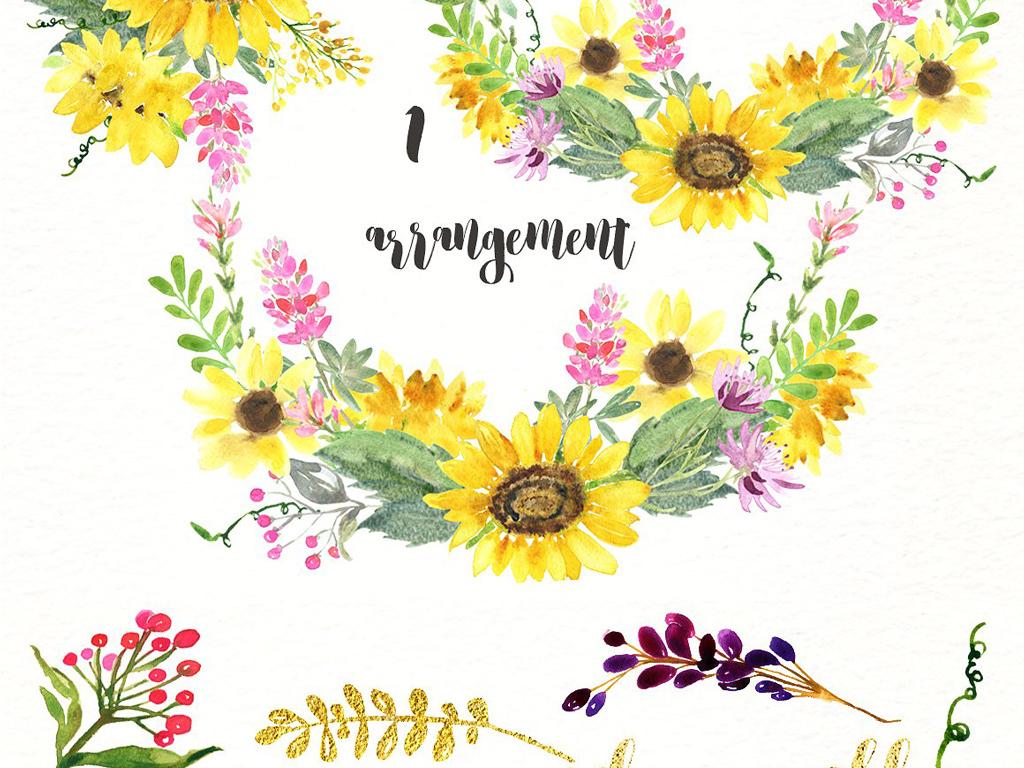 唯美手绘春季夏季向日葵花朵花环边框png素材