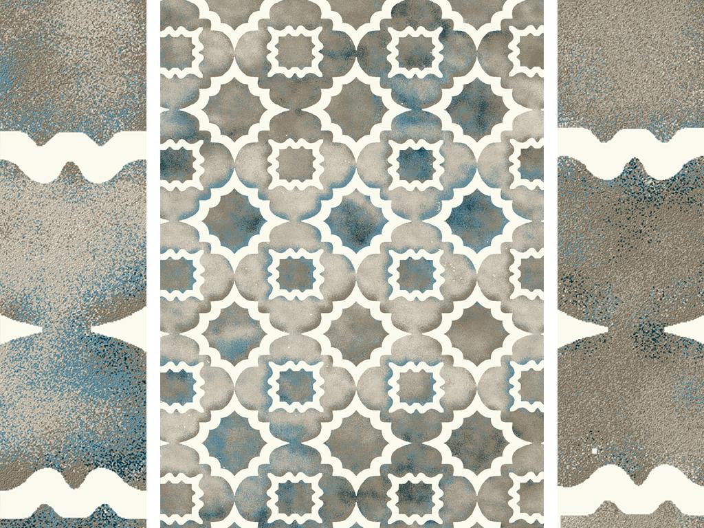 北欧现代时尚抽象几何地毯图案设计图片