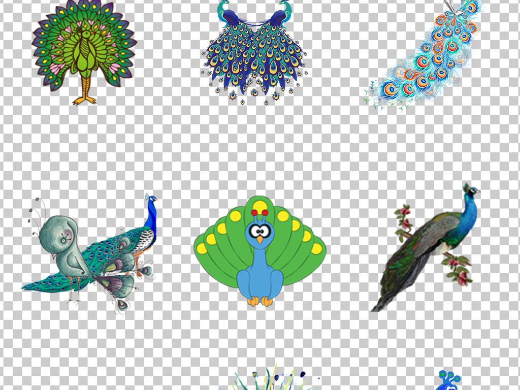 0872唯美创意高贵孔雀手绘彩绘空缺开屏素材免抠