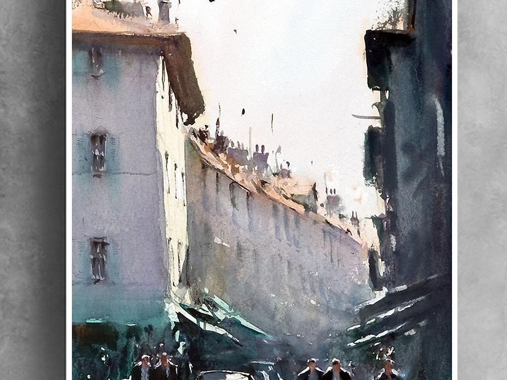 欧洲风格建筑水彩手绘街道装饰画
