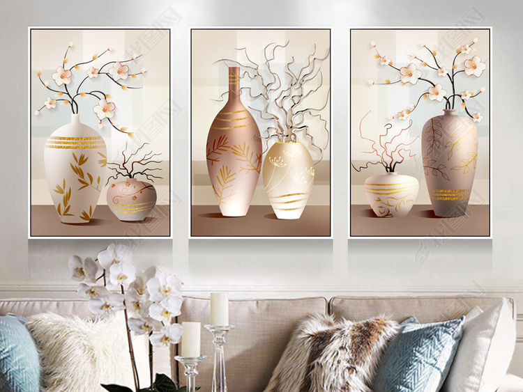 现代简约立体烤瓷静物花瓶花卉北欧装饰画