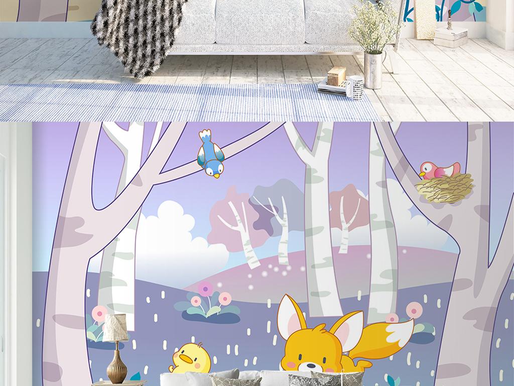 手绘森林动物儿童房公主房背景墙