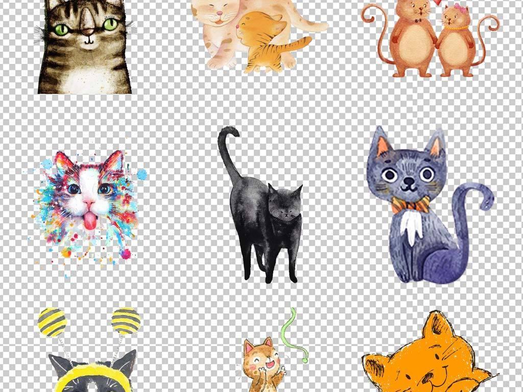 卡通可爱手绘猫咪水彩素描宠物猫png素材
