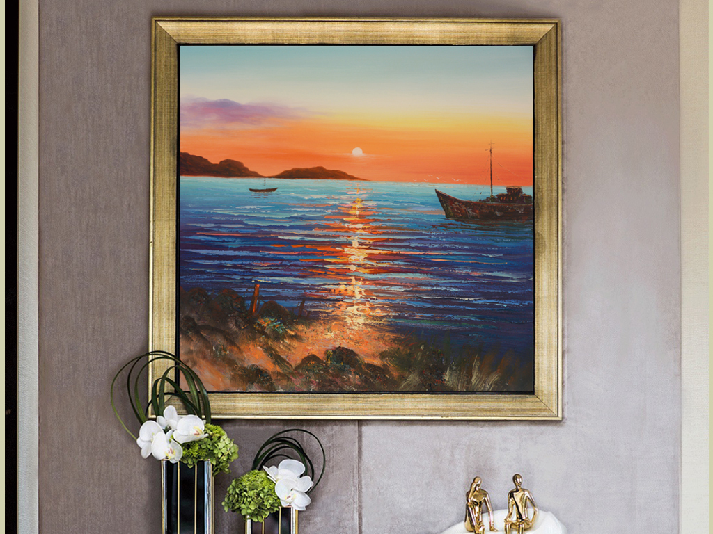 纯手绘夕阳海船风景方形装饰油画