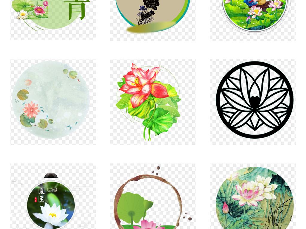 水墨古典手绘水彩圆形荷花花卉海报背景png素材