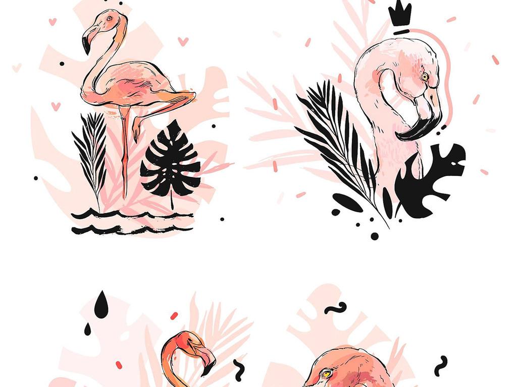 手绘水彩火烈鸟设计素材