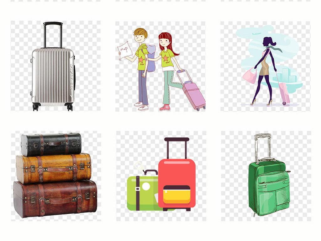 水彩鸟水彩行李箱