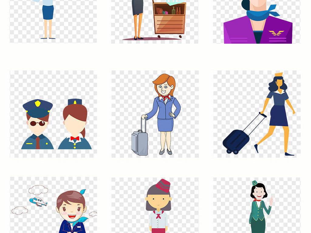 卡通手绘空姐美女图片海报素材背景png
