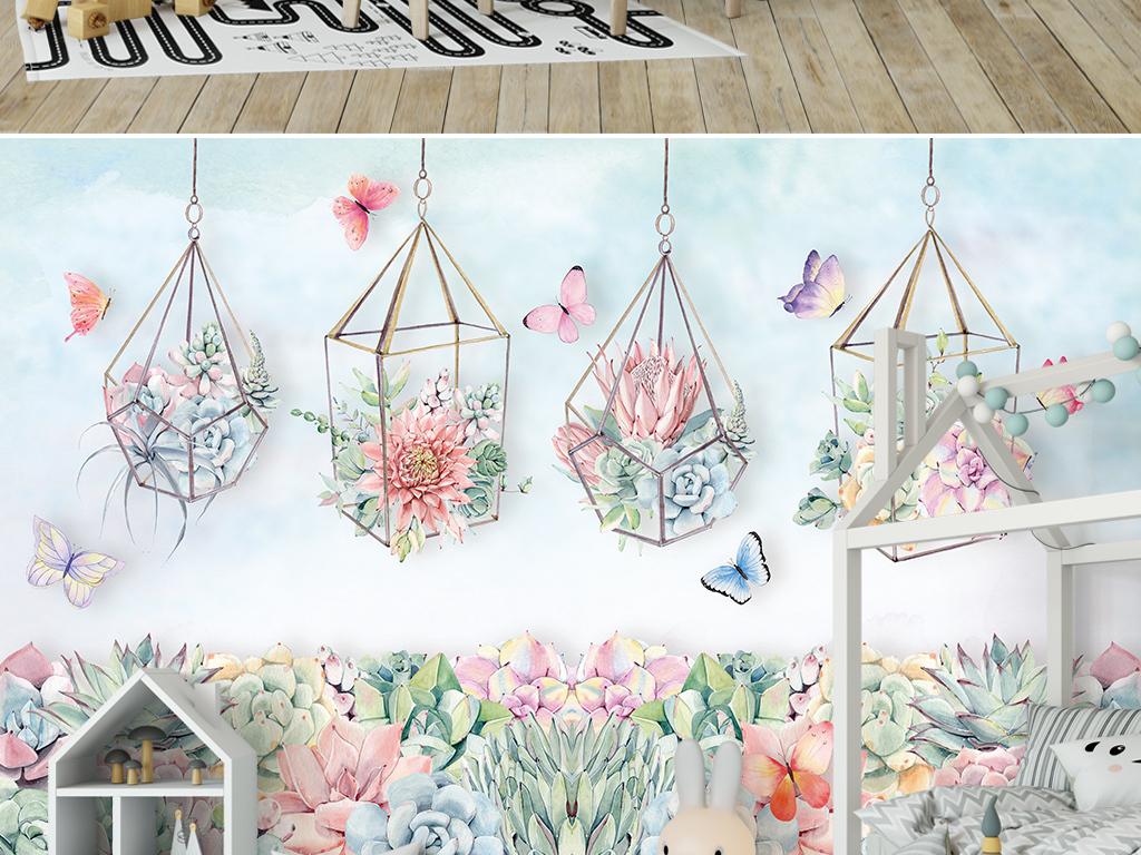 北欧ins手绘多肉植物蝴蝶背景墙