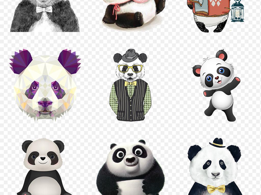 免抠元素 自然素材 动物 > 可爱卡通熊猫海报素材背景png免扣透明设计