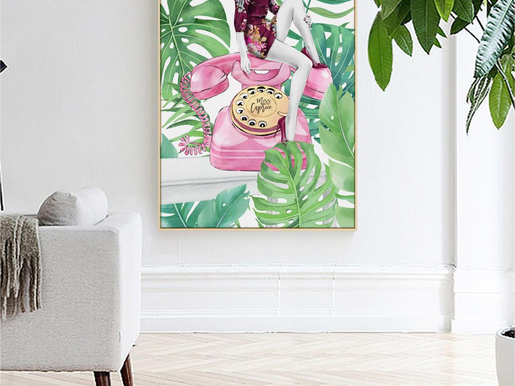 北欧ins手绘美女龟背竹植物玄关装饰画