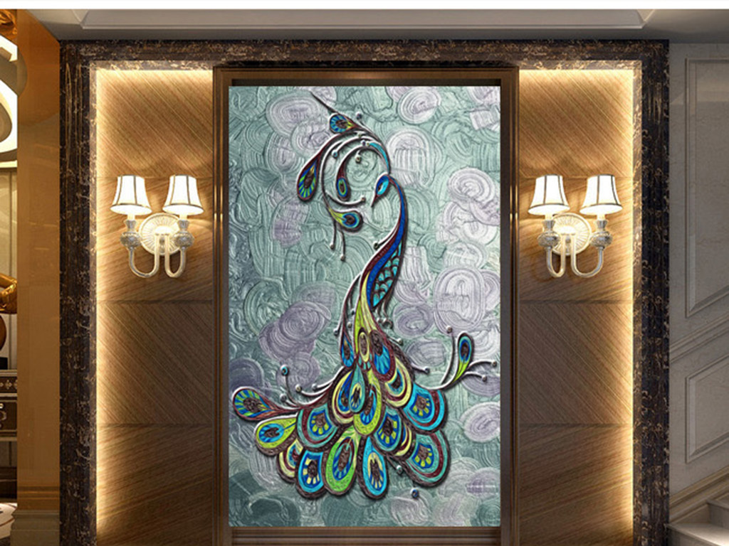 浮雕油画抽象手绘孔雀玄关背景