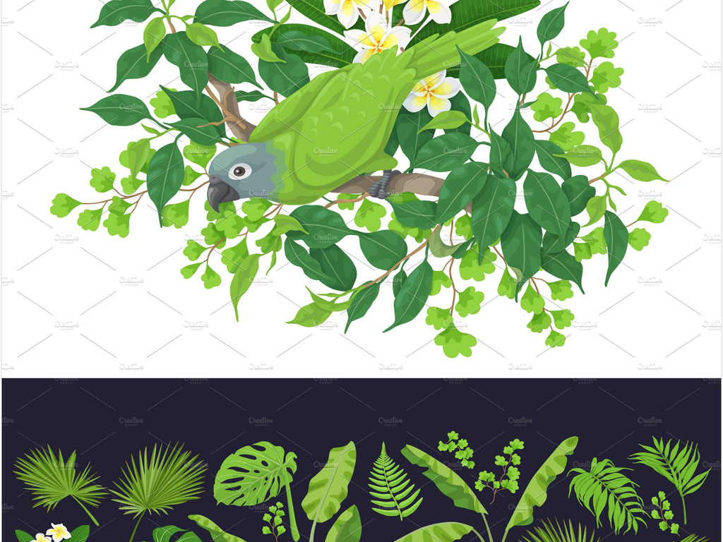 免抠元素 自然素材 树叶 > 手绘夏季热带叶子植物高清矢量素材  素材