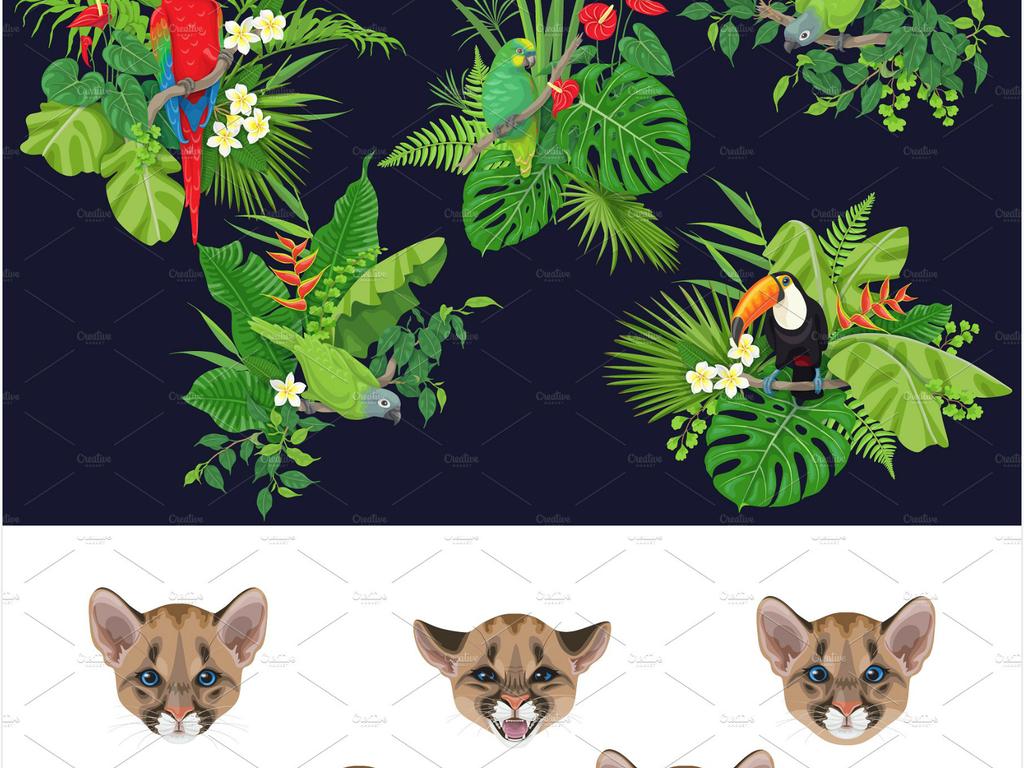 手绘夏季热带叶子植物高清矢量素材