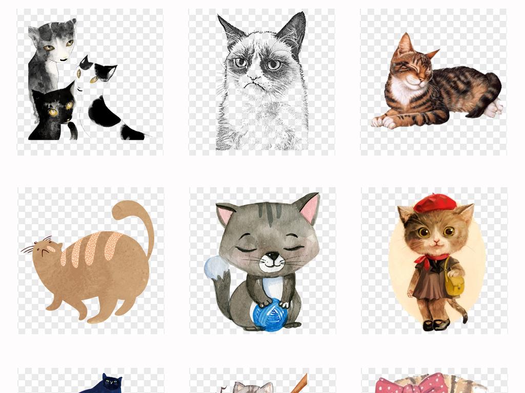 可爱卡通手绘猫咪水彩宠物猫插画背景png素材