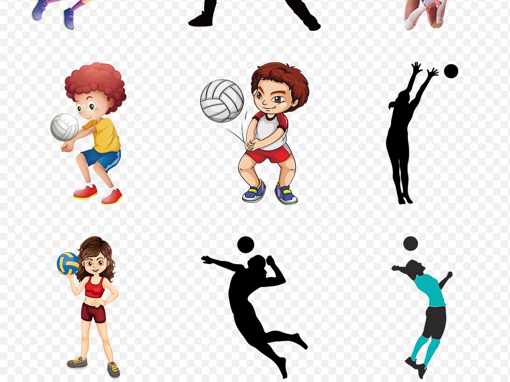 排球运动人物儿童卡通剪影海报素材背景PNG图片 模板下载 25.60MB