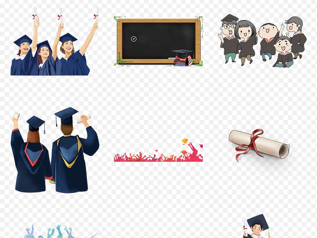 毕业季学生人物背影博士帽海报素材背景png