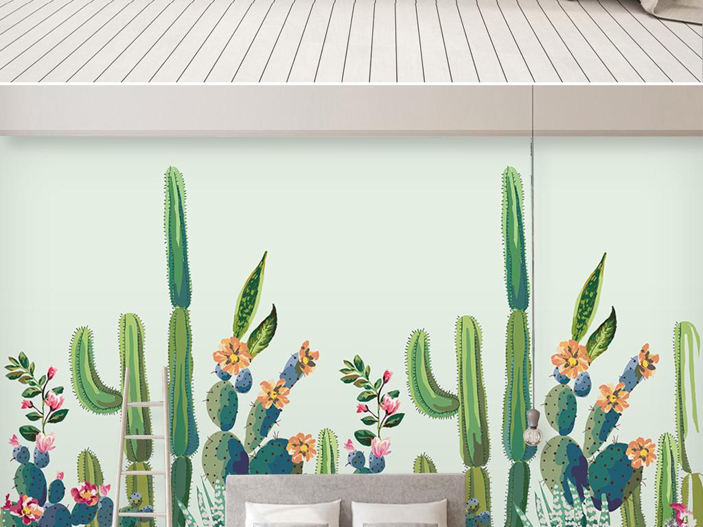 北欧小清新手绘热带植物仙人掌背景墙壁纸