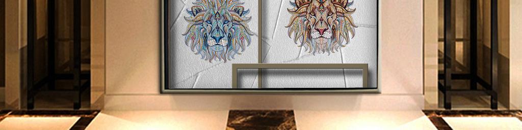 现代简约石头动物画框装饰画简约玄关