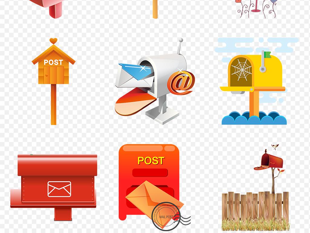卡通手绘信箱邮箱海报素材背景png