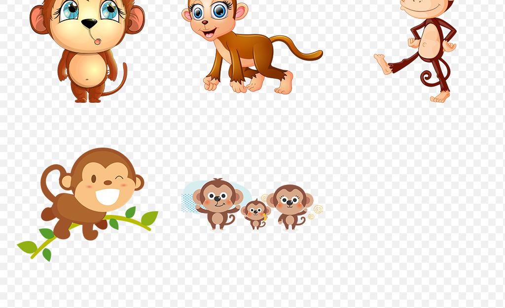 画猴子用什么颜色_呆萌可爱猴子卡通动物海报素材背景png
