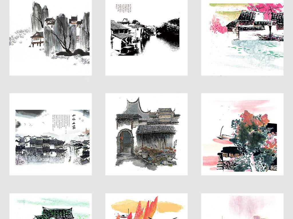 中国风水墨手绘江南水乡古建筑png素材