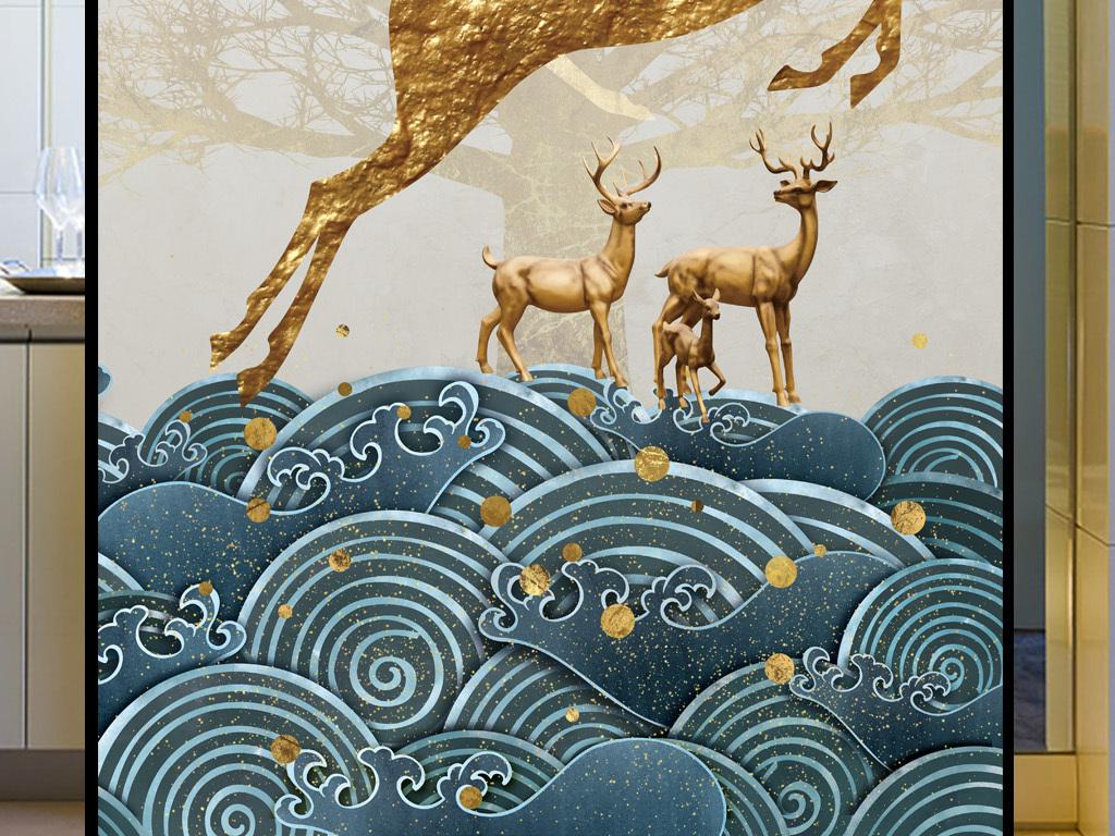 新中式欧美复古手绘梦幻森林鹿踏祥云玄关壁画
