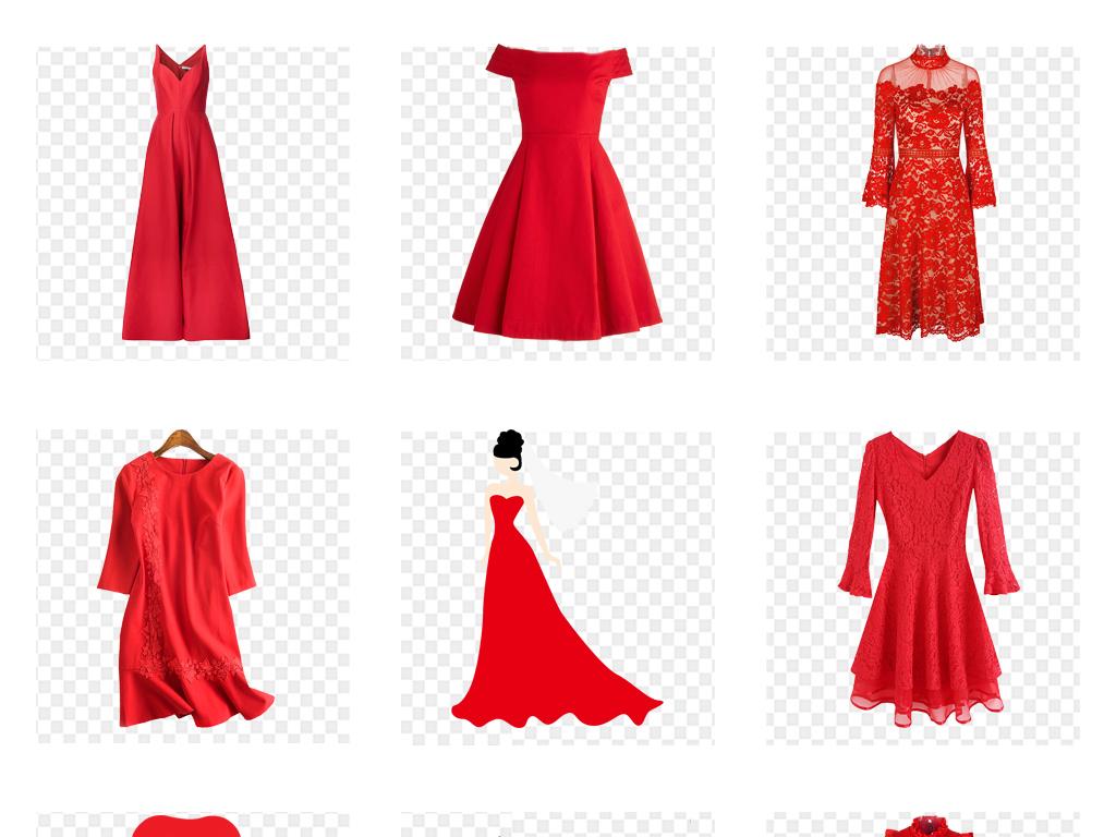 红色古典中式礼服婚纱手绘模特服饰png免扣素材