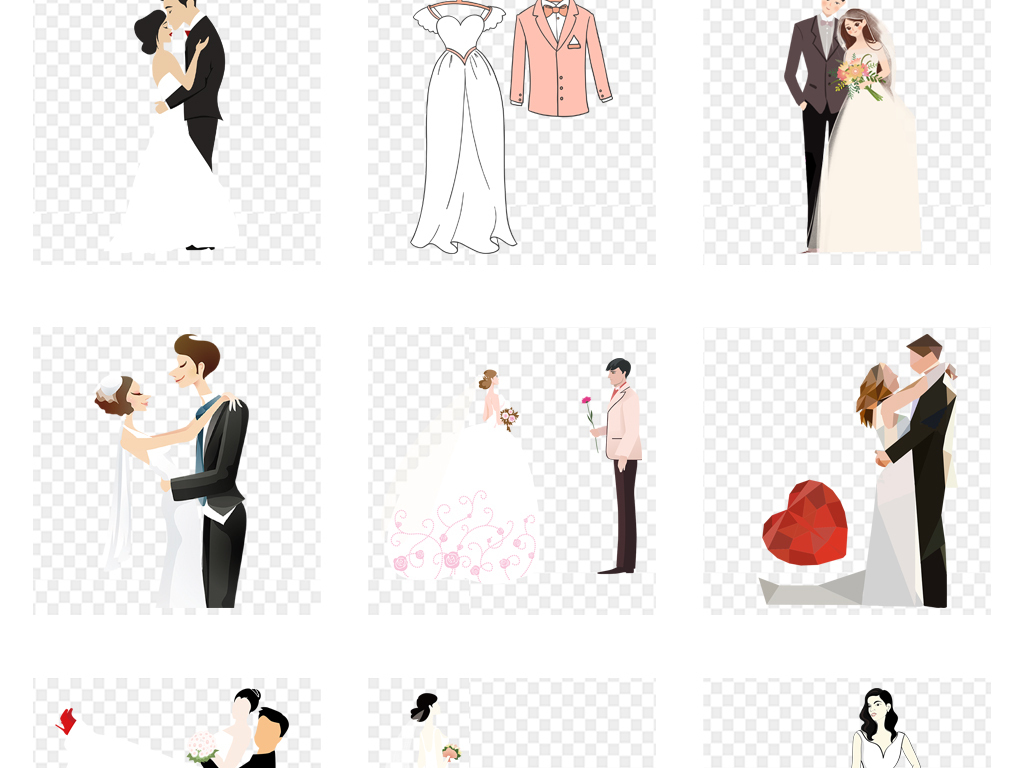 卡通手绘唯美结婚婚礼婚纱人物海报宣传设计素材