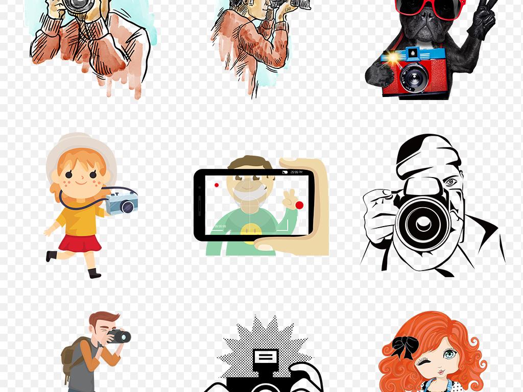 卡通旅游旅行景点拍照手绘海报素材背景png