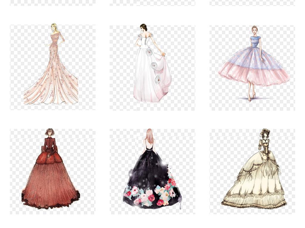 手绘卡通唯美创意裙子婚纱设计海报png素材