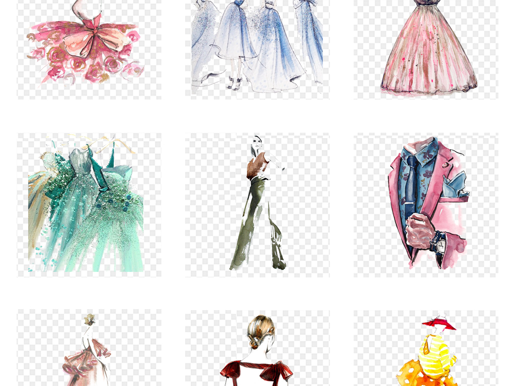 免抠元素 人物形象 美女 > 手绘水彩模特时尚服装裙子礼服png素材