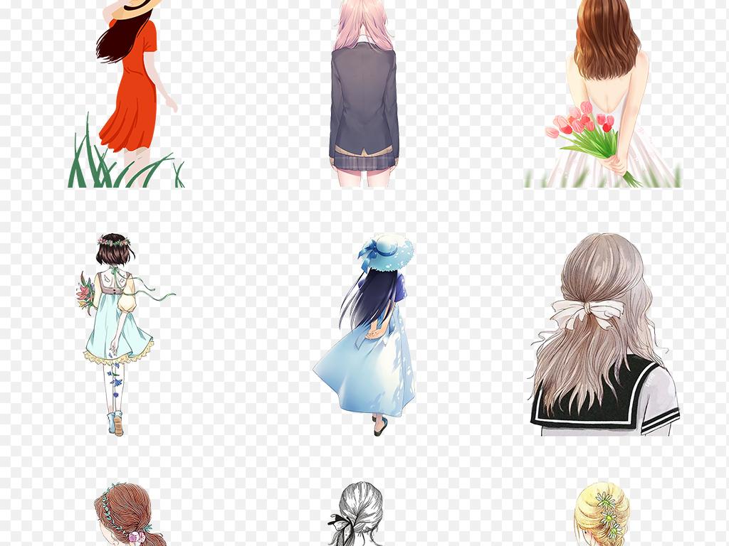 卡通手绘女孩彩绘人物背影文艺海报素材背景png