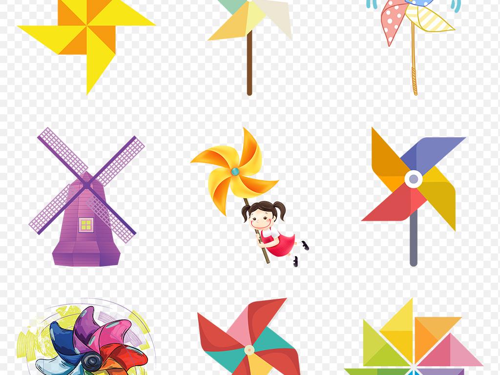 卡通风车小孩春季春天踏青出游海报素材背景png图片