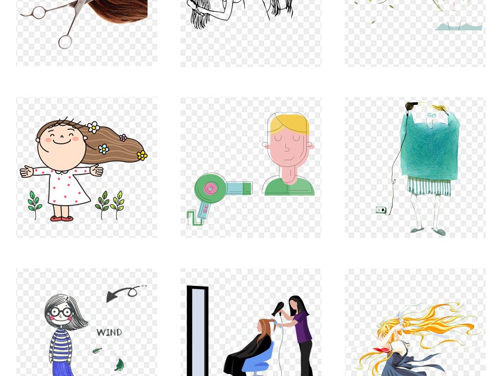 美发店剪头发洗头创意卡通海报背景png素材图片