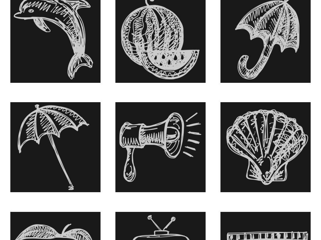 卡通手绘粉笔涂鸦风格图片png素材_模板下载(19.08mb)