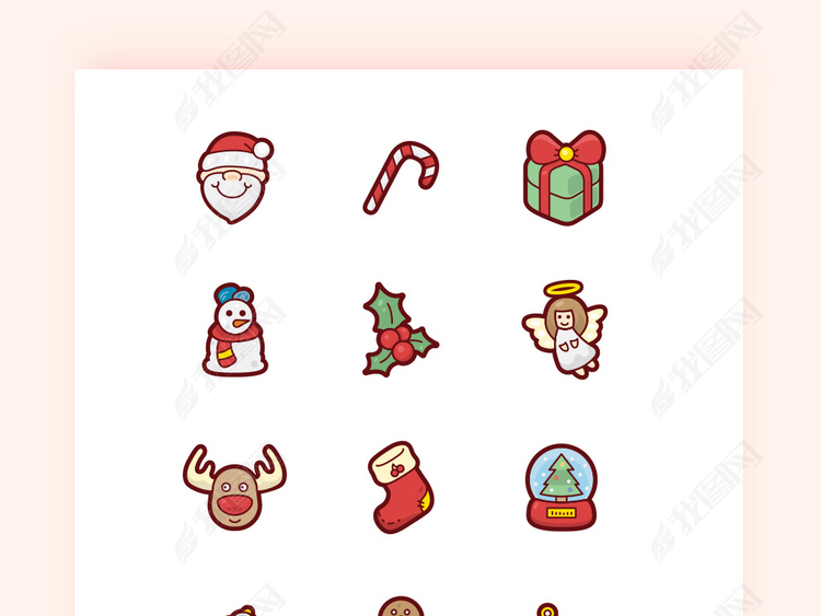 圣诞节卡通扁平化矢量APP图标icon