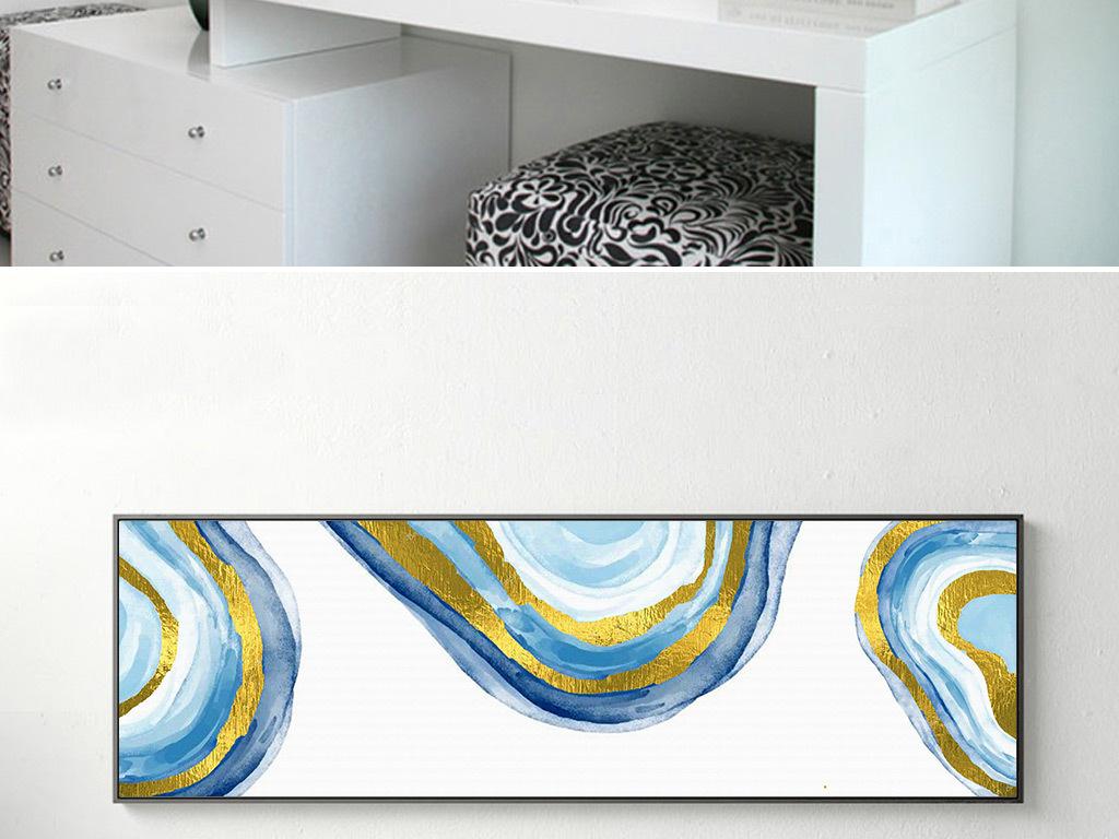 北欧简约抽象几何线条手绘油画床头装饰画