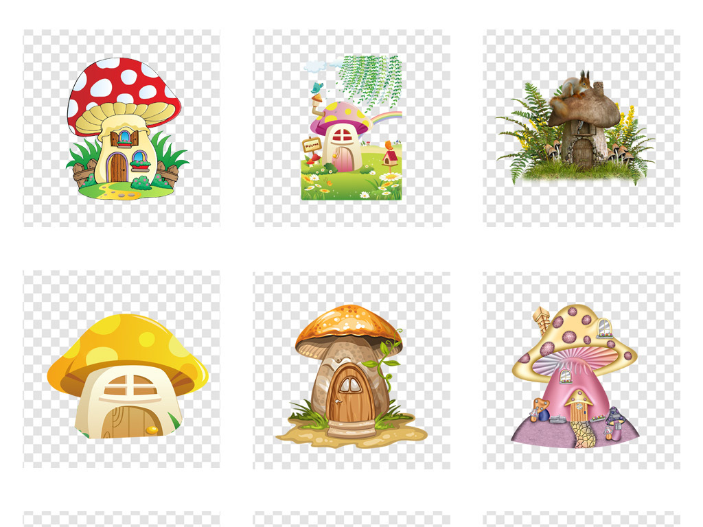 卡通手绘蘑菇屋ng免扣素材