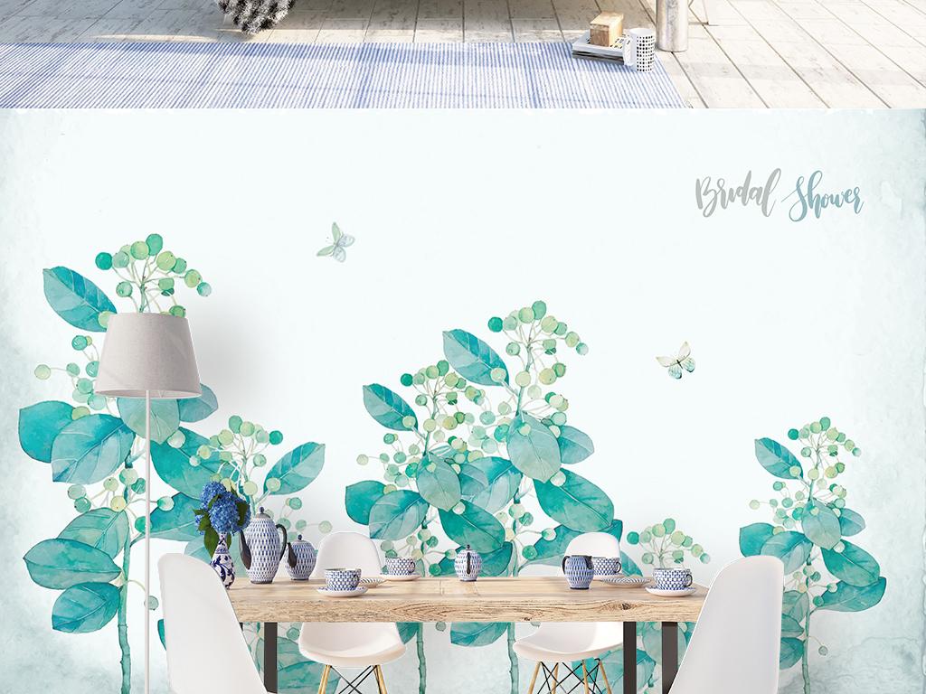 北欧手绘小清新海棠花丛沙发电视背景墙图片设计素材