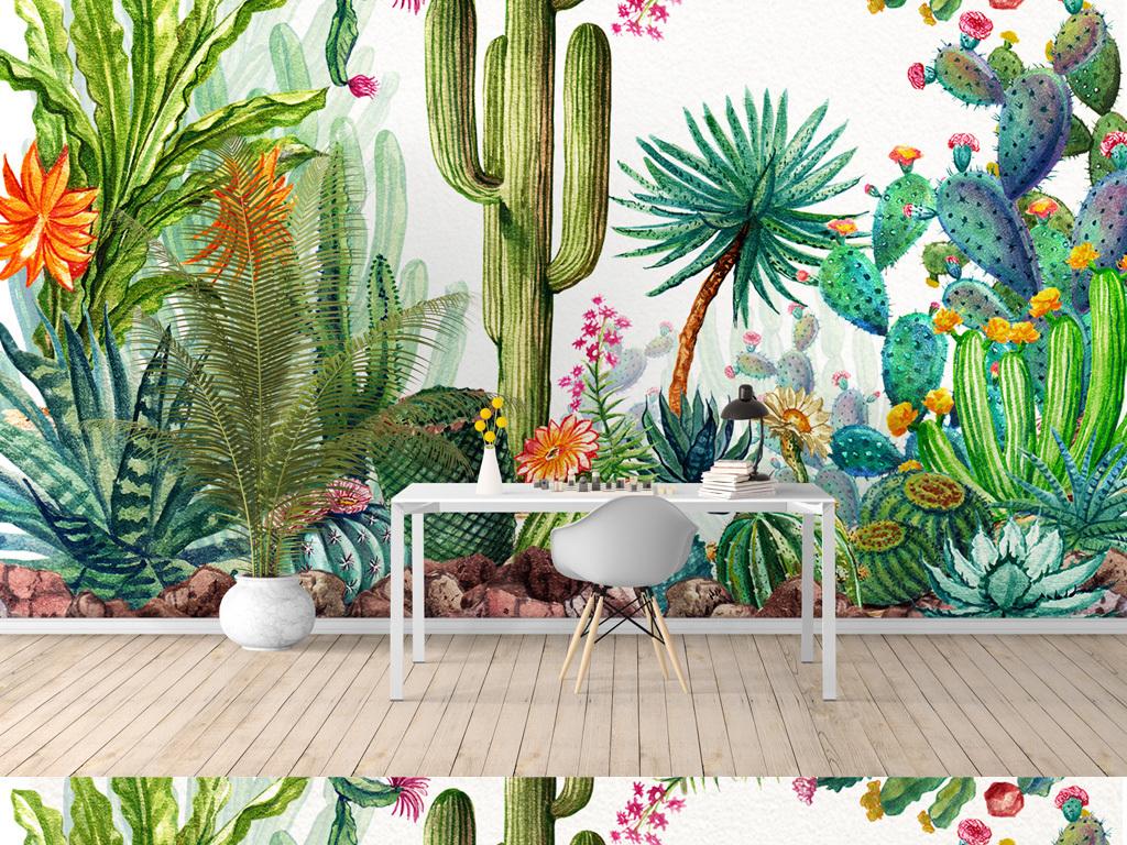 森系北欧ins风热带雨林植物仙人掌背景墙
